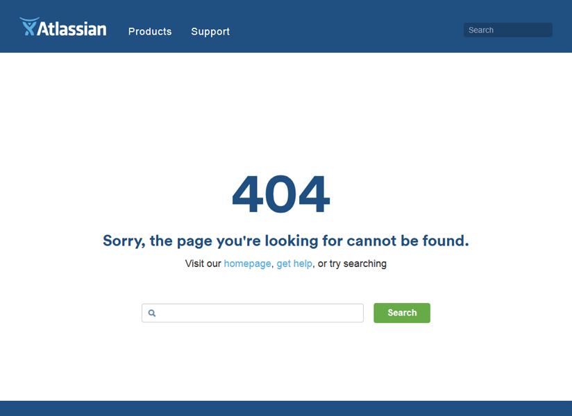Atlassianの404エラーページ