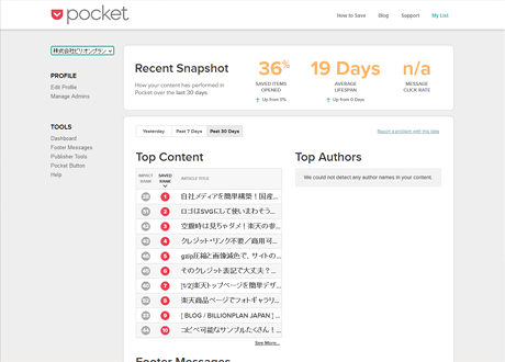 Pocket for Publishers: Dashboard